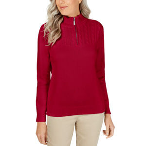 Karen Scott Cable Knit 1/4 Zip Turtleneck Sweater